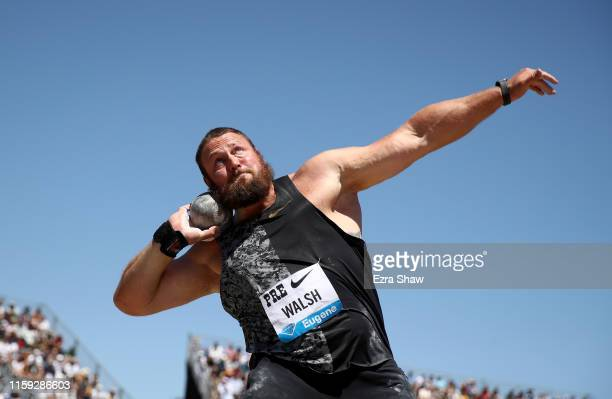 Tomas Walsh of New Zealand competes in the men's shot put during the Prefontaine Classic at Cobb Track Angell Field on June 30 2019 in Stanford...