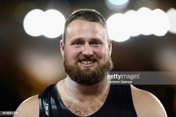 Tomas Walsh of New Zealand looks on as he competes in the Men's Shot Put final during the Athletics on day five of the Gold Coast 2018 Commonwealth...