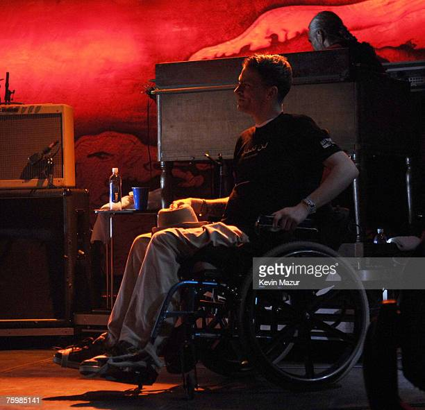 Tomas Young Iraq war vetran whose story is told in forthcoming Body of War documentary by Phil Donahue perform at Lollapalooza 2007 in Grant Park on...
