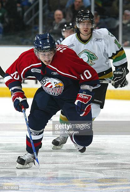 Tomas Zaborsky of the Saginaw Spirit chases after the puck in a game against the London Knights on December 2, 2007 at the John Labatt Centre in...