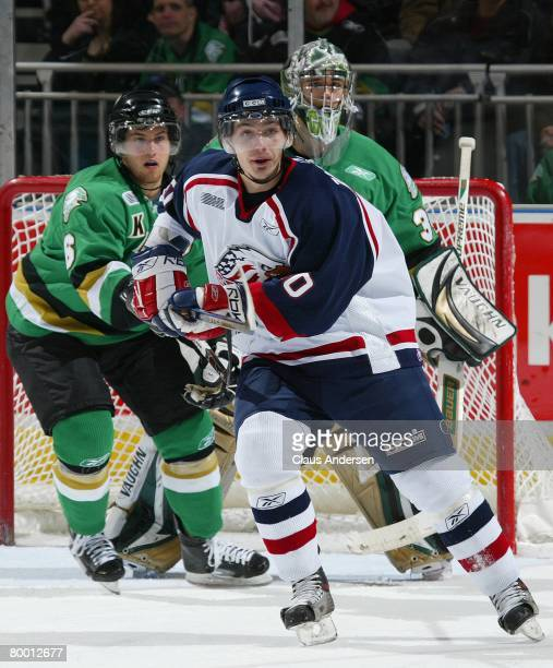 Tomas Zaborsky of the Saginaw Spirit skates in a game against the London Knights on February 22, 2008 at the John Labatt Centre in London, Ontario....