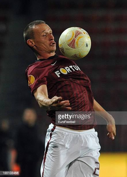 Tomas Zapotocny of AC Sparta Praha in action during the UEFA Europa League group stage match between AC Sparta Praha and Hapoel Kiryat Shmona FC held...