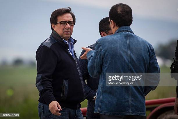 Tomas Zeron Director of the Agencia de Investigación Criminal looks on during an operation on the surroundings of Mexican Maximum Security Prison of...