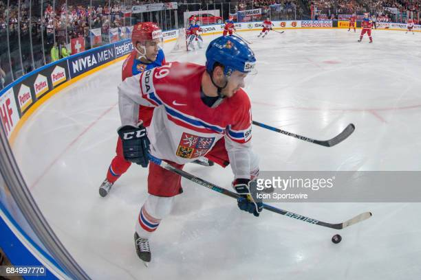 Tomas Zohorna vies with Artyom Zub during the Ice Hockey World Championship Quarterfinal between Russia and Czech Republic at AccorHotels Arena in...