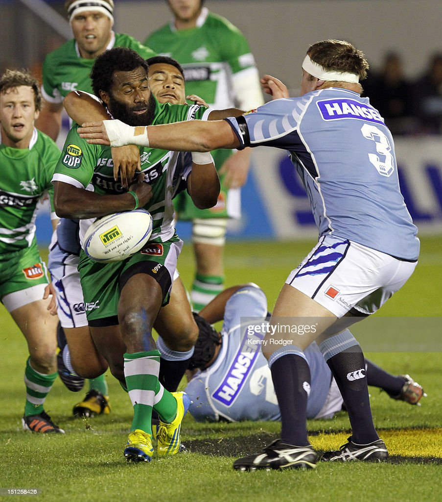 Tomasi Cama of Manawatu drops the ball in a Northland tackle during the round four ITM Cup match between Northland and Manawatu at Toll Stadium on September 5, 2012 in Whangarei, New Zealand.