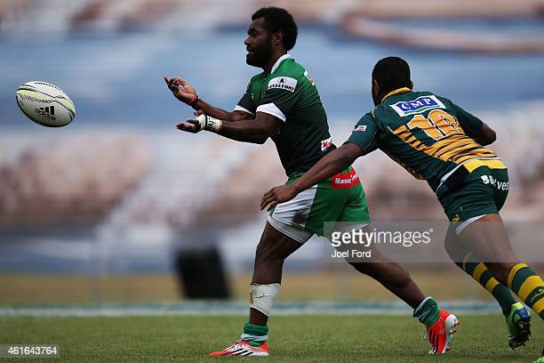 Tomasi Cama of Manawatu passes the ball during a match against Mid Canterbury during the the New Zealand National Rugby Sevens at Rotorua...