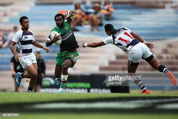 Tomasi Cama of Manawatu runs with the ball during a match against Auckland during the New Zealand National Rugby Sevens at Rotorua International...