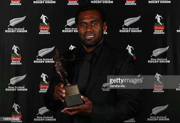 Tomasi Cama poses with the Seven's Player of the Year award during the 2012 Steinlager Rugby Awards at SkyCity Convention Centre on December 14 2012...