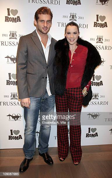 Tomaso trussardi and actress Irene Ferri attend I Love Roma Trussardi 1911 Flagship Store Opening Cocktail Party on February 14 2011 in Rome Italy