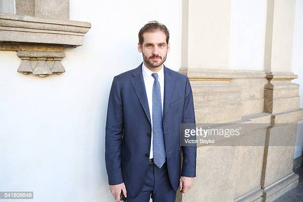Tomaso Trussardi is seen at Trussardi Presentation during Milan Men's Fashion Week Spring/Summer 2017 on June 20 2016 in Milan Italy
