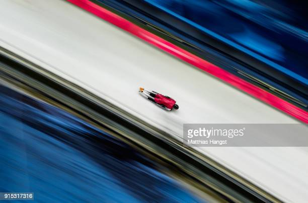 Tomass Dukurs of Latvia practices during Men's Skeleton training ahead of the PyeongChang 2018 Winter Olympic Games at the Olympic Sliding Centre on...