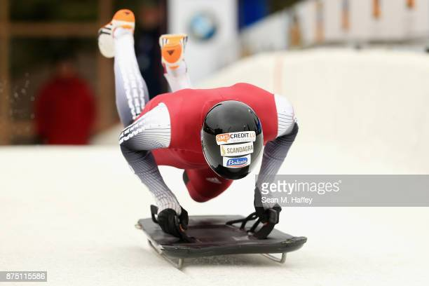 Tomass Dukurs of Latvia takes a training run in the Men's Skeleton during the BMW IBSF Bobsleigh + Skeleton World Cup at Utah Olympic Park November...
