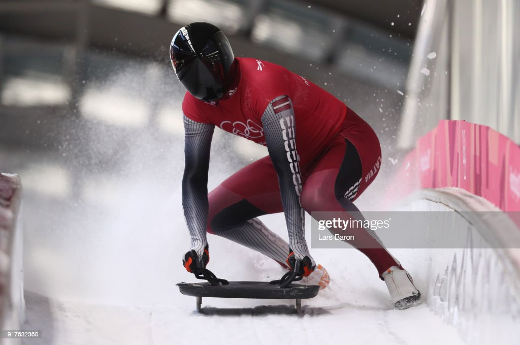 Tomass Dukurs of Latvia trains during the Mens Skeleton training session on day four of the PyeongChang 2018 Winter Olympic Games at Olympic Sliding Centre on February 13, 2018 in Pyeongchang-gun, South Korea.