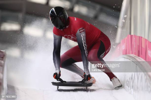 Tomass Dukurs of Latvia trains during the Mens Skeleton training session on day four of the PyeongChang 2018 Winter Olympic Games at Olympic Sliding...