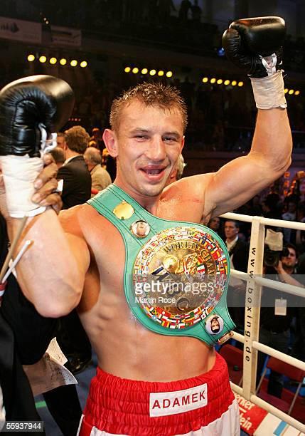 Tomasz Adamek of Poland celebrates winning after the WBC Light Heavyweight Championship bout at the Dusseldorfer Mehrzweckhalle on October 15, 2005...