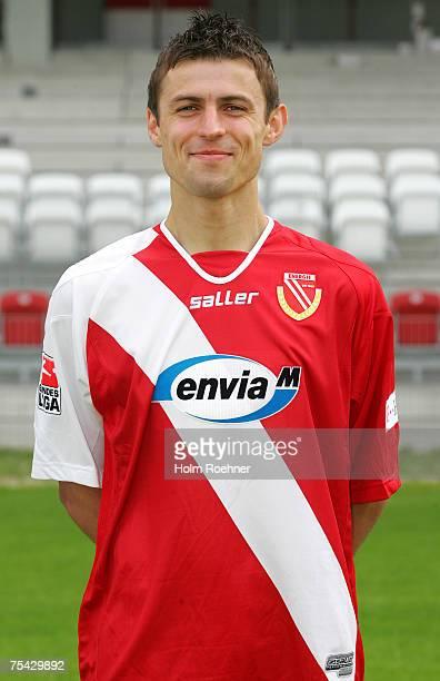 Tomasz Bandrowski poses during the Bundesliga 2nd Team Presentation of FC Energie Cottbus on July 13 2007 in Jena Germany