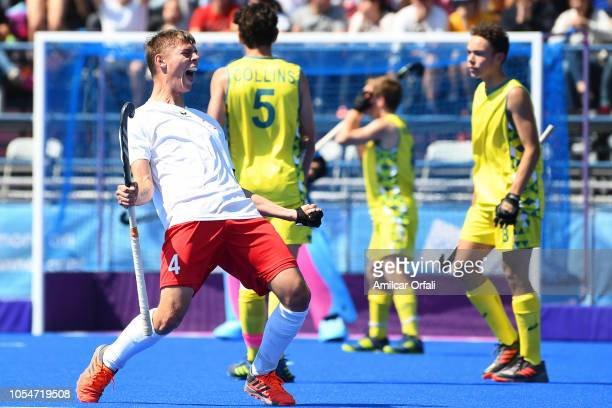 Tomasz Bembenek of Poland celebrduring day 8 of the Buenos Aires Youth Olympics Games ates after scoring in the Men's Classification Match 56 against...
