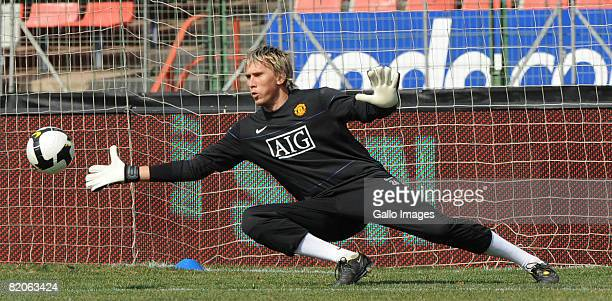 Tomasz Kuszczak in action during the Manchester United training session held at Loftus Versfeld Stadium on July 25 2008 in Pretoria South Africa