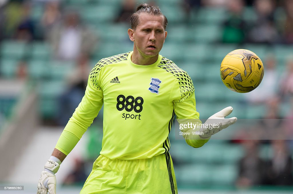Tomasz Kuszczak in action for Birmingham City during the Pre-Season Friendly between Hibernian and Birmingham City at Easter Road on July 24, 2016 in Edinburgh, Scotland.