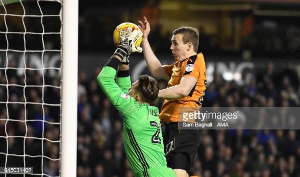 Tomasz Kuszczak of Birmingham City and Jon Dadi Bodvarsson of Wolverhampton Wanderers during the Sky Bet Championship match between Wolverhampton...