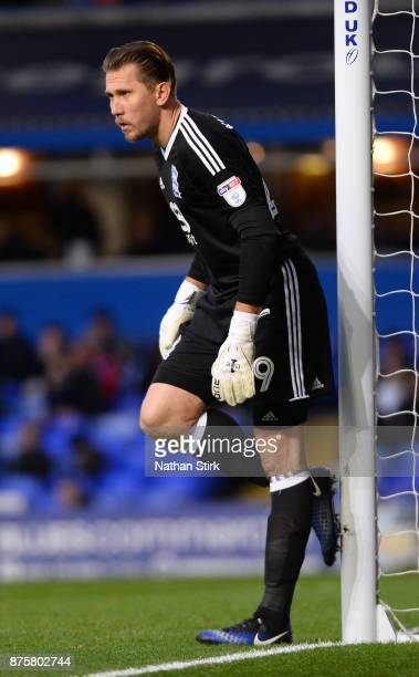 Tomasz Kuszczak of Birmingham City cleans his boots during the Sky Bet Championship match between Birmingham City and Nottingham Forest at St Andrews...