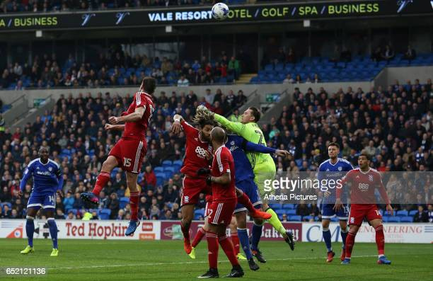 Tomasz Kuszczak of Birmingham City punches away the ball during a corner during the Sky Bet Championship match between Cardiff City and Birmingham...