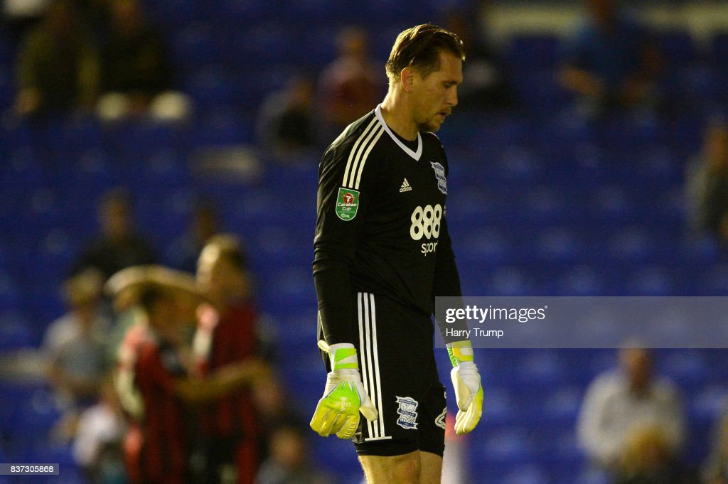 Tomasz Kuszczak of Birmingham is dejected after AFC Bournemouth second goal of the game during the Carabao Cup Second Round match between Birmingham City and AFC Bournemouth at St Andrews (stadium) on August 22, 2017 in Birmingham, England.