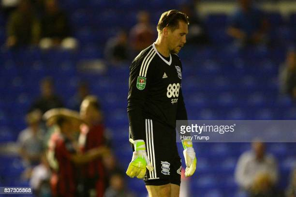 Tomasz Kuszczak of Birmingham is dejected after AFC Bournemouth second goal of the game during the Carabao Cup Second Round match between Birmingham...