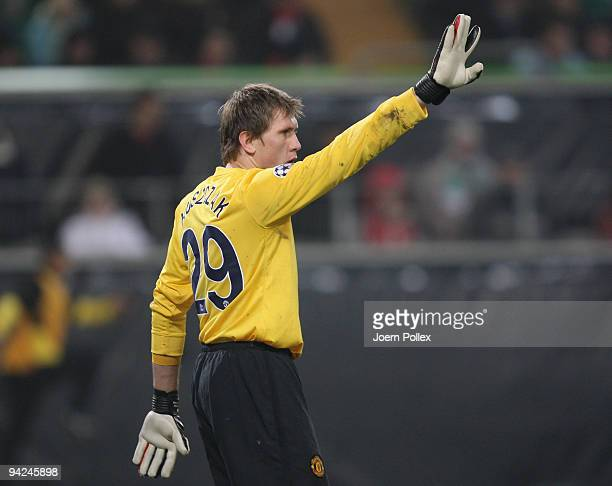 Tomasz Kuszczak of Manchester gestures during the UEFA Champions League Group B match between VfL Wolfsburg and Manchester United at Volkswagen Arena...