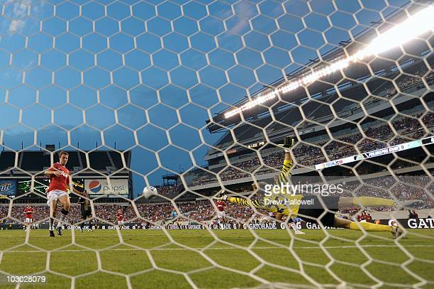 Tomasz Kuszczak of Manchester United dives for a wide shot during the game against Philadelphia Union at Lincoln Financial Field on July 21 2010 in...