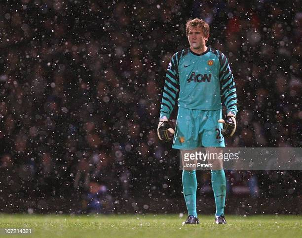 Tomasz Kuszczak of Manchester United in action United during the Carling Cup quarterfinal match between West Ham United and Manchester United at...