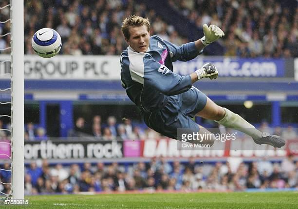 Tomasz Kuszczak of West Bromwich Albion makes a save during the FA Barclays premiership match between Everton and West Bromwich Albion at Goodison...