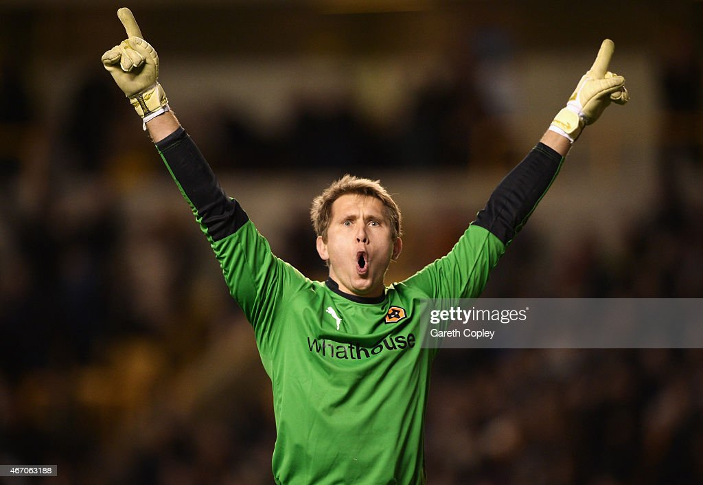 Tomasz Kuszczak of Wolves celebrates his team's second goal, an own goal by Lee Grant of Derby during the Sky Bet Championship match between Wolverhampton Wanderers and Derby County at Molineux on March 20, 2015 in Wolverhampton, England.
