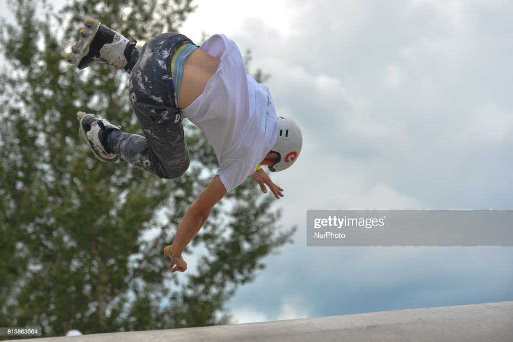 Tomasz Kwiecien during the final of Rollerblading competition, on the final day of Carpatia Extreme Festival 2017, in Rzeszow. On Sunday, July 16, 2017, in Rzeszow, Poland.