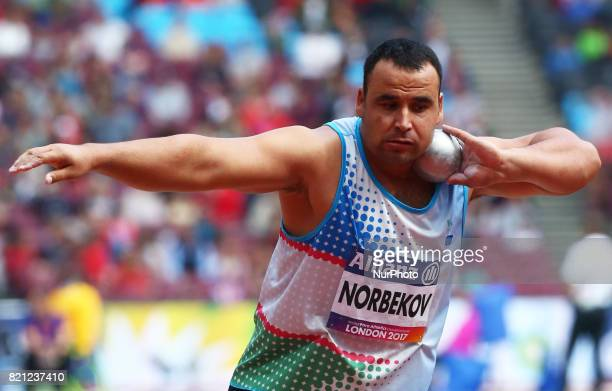 Tomasz Sciubak of Poland compete Men's Shot Put F37 Final during World Para Athletics Championships at London Stadium in London on July 23 2017