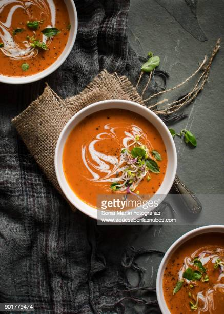 tomato and basil soup - tomato soup stock photos and pictures