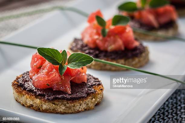 Tomato and olive bruschetta