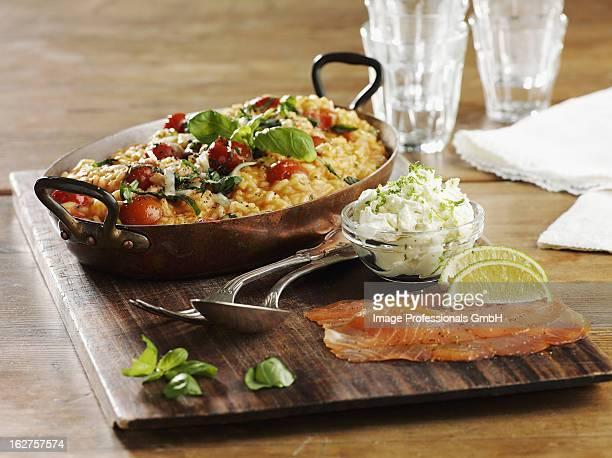 Tomato, basil and smoked salmon risotto