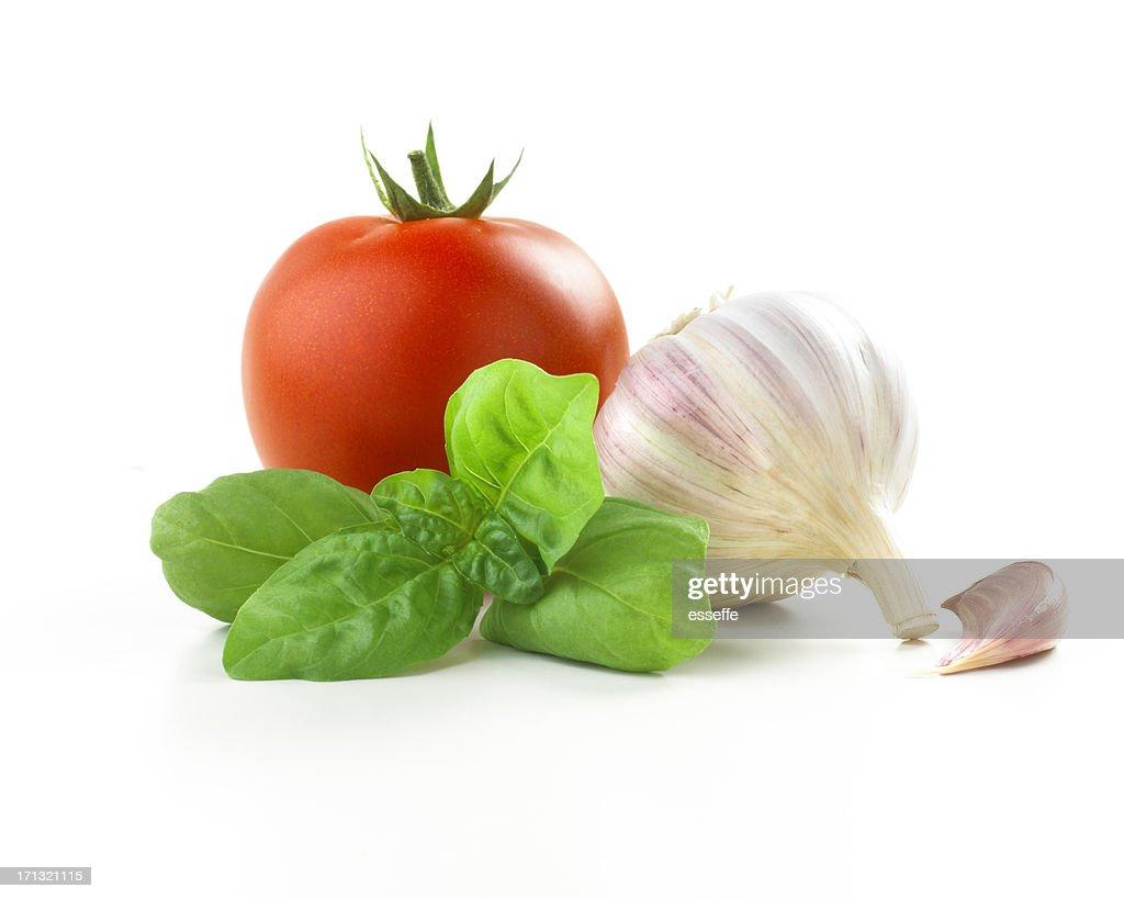 tomato, basil leaf and Garlic : Stock Photo