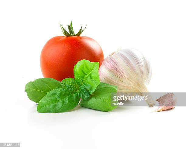 tomato, basil leaf and Garlic