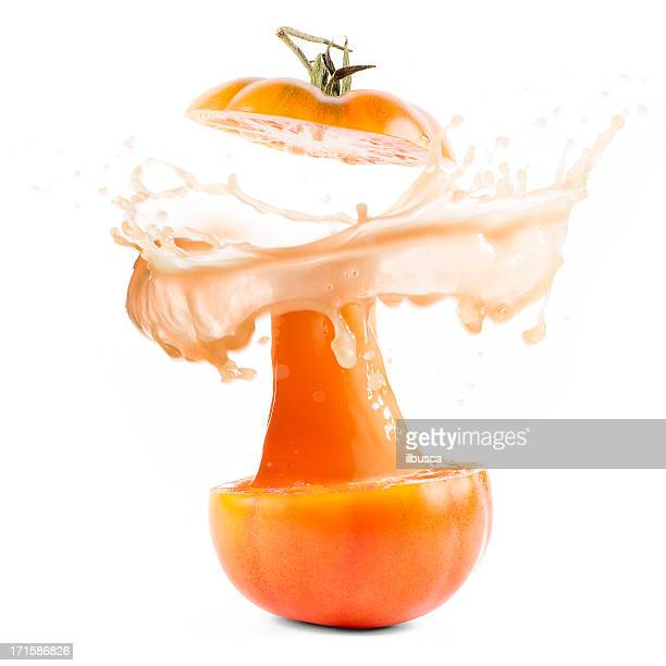 Tomaten-explosion Orangensaft splash