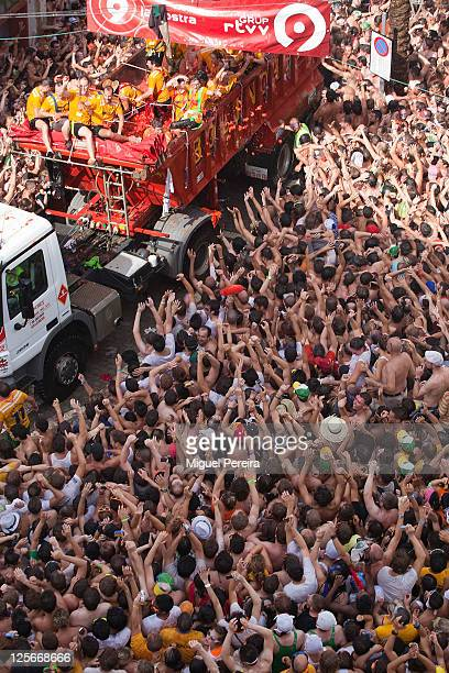 Tomato fight during the Tomatina the world's biggest tomato fight held annually the last Wednesday of August in the Spanish town of Bunol Valencia...