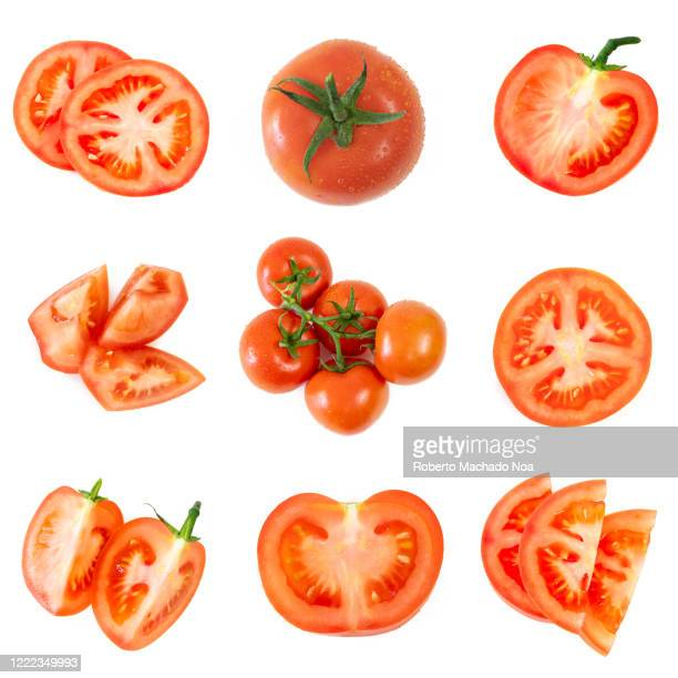 tomato fruit from the bunch to slices, composite image - tomato stock pictures, royalty-free photos & images