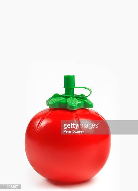 tomato ketchup container with copy space - tomato sauce stock pictures, royalty-free photos & images