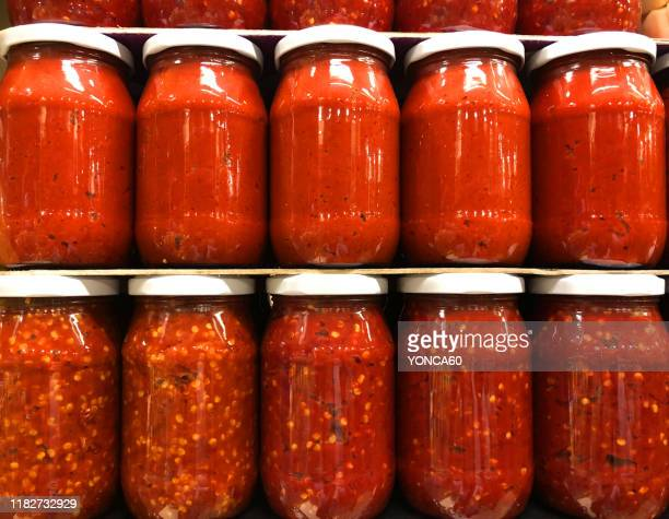 tomato paste in jars - jar stock pictures, royalty-free photos & images