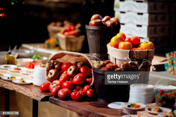 Tomato salad and tomatoes on display at the Television Academy's press preview for The 2017 Emmy Awards Governors Ball and Creative Arts Governors...