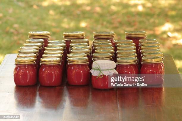 Tomato Sauce In Jars On Table