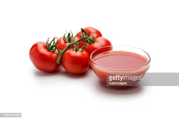tomato sauce with fresh ripe tomatoes isolated on white background - tomato sauce stock pictures, royalty-free photos & images