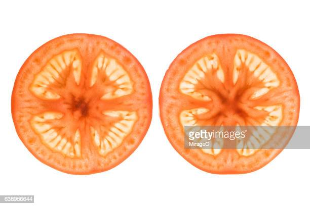 Tomato Slices on White Background
