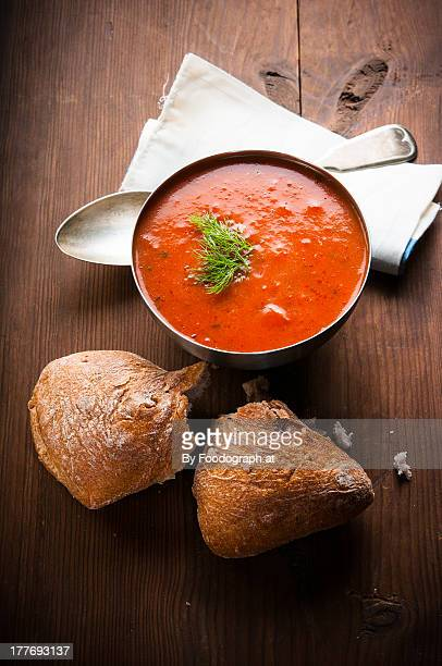 Tomato Soup and two piece of bread